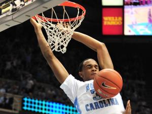 John Henson (31) dunks during the North Carolina Tar Heels vs. Virginia Tech Hokies game, Thursday, January 13, 2011 at the Dean E. Smith Center in Chapel Hill, N.C.