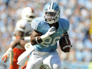Giovani Bernard (26) runs with the ball during the University of North Carolina vs. Miami game, Saturday, October 15, 2011.