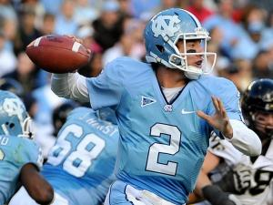 North Carolina Tar Heels quarterback Bryn Renner (2) drops back to pass.North Carolina defeats Wake Forest 49-24 at Kenan Stadium in Chapel Hill North Carolina.
