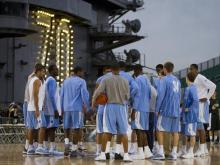 North Carolina and Michigan State will be the first two basketball teams to play aboard a ship Friday when they square off in the Carrier Classic on the U.S.S Carl Vinson in San Diego, California. Check out photos from media day, Thursday, Nov. 10, 2011