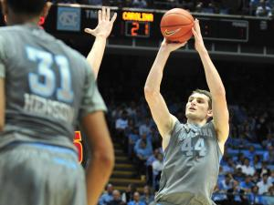 Tyler Zeller (44) shoots a deep shot during the North Carolina Tar Heels vs. Maryland Terrapins NCAA basketball game in Chapel Hill, N.C. Wednesday, February 29, 2012.