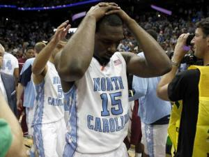 P.J. Hairston of North Carolina leaves the court after losing in the ACC Tournament championship game in Atlanta on March 11, 2012.