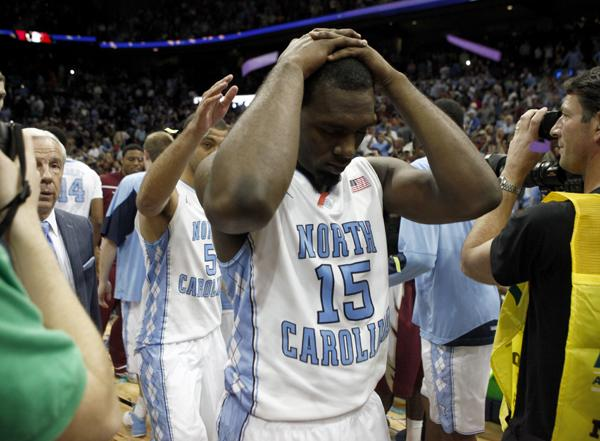 FILE: P.J. Hairston of North Carolina leaves the court after losing in the ACC Tournament championship game in Atlanta on March 11, 2012.<br/>Photographer: Jeff Reeves