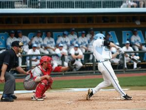 Colin Moran makes contact during an at bat during the Cornell vs. UNC regional game on June 1, 2012 in Chapel Hill, NC.