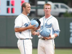 Jacob Stallings and Colin Moran chat during a break in the action of the Cornell vs. UNC regional game on June 1, 2012 in Chapel Hill, NC.