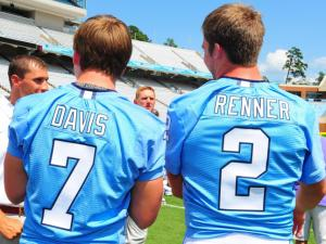 Drew Davis (7) and Bryn Renner (2) during the University of North Carolina Football media day, Saturday, August 4, 2012.