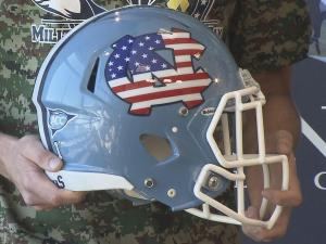 North Carolina will wear a special helmet for Saturday's game against Idaho as part of Military Appreciation Day. The helmet will feature the U.S. flag on UNC's logo.