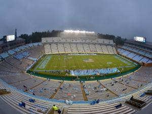 The crowd thins as the rain falls harder.North Carolina defeats Idaho Vandals 66-0 at Kenan Stadium in Chapel Hill North Carolina.