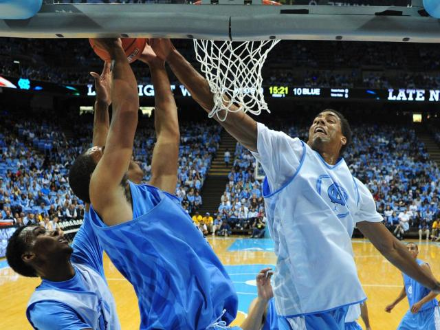 James Michael McAdoo (43) blocks a shot during Late Night with Roy in Chapel Hill, Friday, October 12, 2012.<br/>Photographer: Will Bratton
