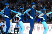 Dexter Strickland (left) and Leslie McDonald (right) dance during Late Night with Roy in Chapel Hill, Friday, October 12, 2012.
