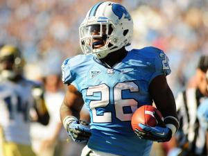 UNC tailback Gio Bernard (26) runs in for a touchdown during the University of North Carolina vs. Georgia Tech NCAA football game, Saturday, November 10, 2012 in Chapel Hill, NC.
