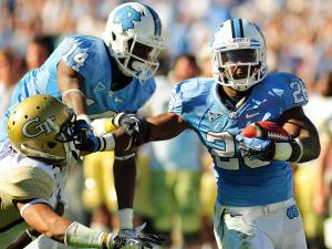 Gio Bernard (26) rushes for a touchdown during the University of North Carolina vs. Georgia Tech NCAA football game, Saturday, November 10, 2012 in Chapel Hill, NC.