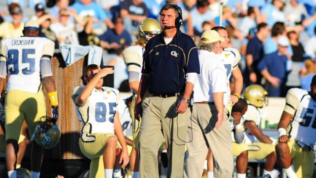 GT head coach Paul Johnson during the University of North Carolina vs. Georgia Tech NCAA football game, Saturday, November 10, 2012 in Chapel Hill, NC.