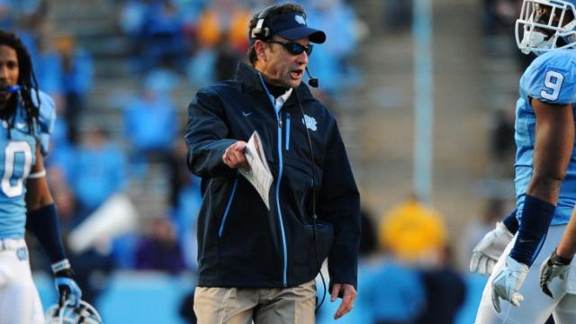 Larry Fedora during the North Carolina Tar Heels vs. Maryland Terrapins NCAA football game, Saturday, November 24, 2012 in Chapel Hill, NC.
