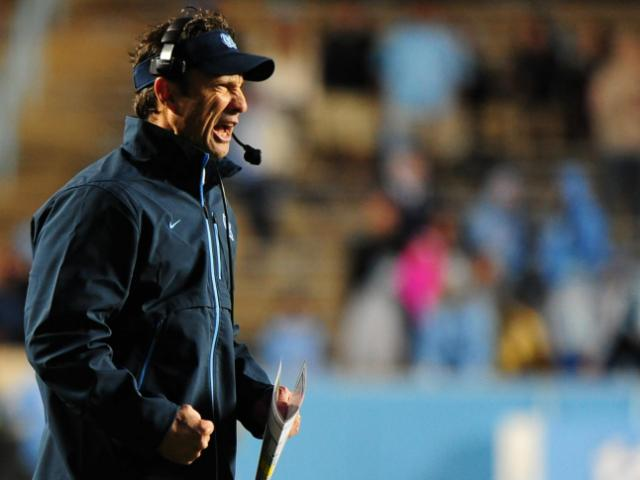 UNC head coach Larry Fedora reacts to a play during the North Carolina Tar Heels vs. Maryland Terrapins NCAA football game, Saturday, November 24, 2012 in Chapel Hill, NC. <br/>Photographer: Will Bratton