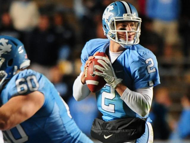 FILE: UNC quarterback Bryn Renner (2) during the North Carolina Tar Heels vs. Maryland Terrapins NCAA football game, Saturday, November 24, 2012 in Chapel Hill, NC. <br/>Photographer: Will Bratton