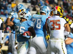 UNC tailback Giovani Bernard (26) celebrates a third quarter touchdown during the North Carolina Tar Heels vs. Maryland Terrapins NCAA football game, Saturday, November 24, 2012 in Chapel Hill, NC.