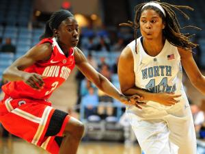 Tierra Ruffin-Pratt (44) during the ACC/Big Ten Challenge NCAA women's basketball game between the North Carolina Tar Heels and the Ohio State Buckeyes, Wednesday, November 28, 2012 at Carmichael Arena in Chapel Hill, NC.