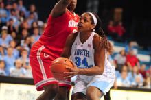 Xylina McDaniel (34) during the ACC/Big Ten Challenge NCAA women's basketball game between the North Carolina Tar Heels and the Ohio State Buckeyes, Wednesday, November 28, 2012 at Carmichael Arena in Chapel Hill, NC.