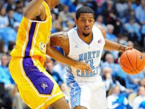 Leslie McDonald (2) drives to the basket during the North Carolina Tar Heels vs. East Carolina Pirates NCAA basketball game, Saturday, December 15, 2012 in Chapel Hill, NC.