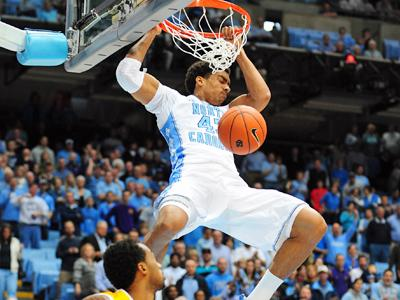 James Michael McAdoo (43) throws down a dunk during the North Carolina Tar Heels vs. East Carolina Pirates NCAA basketball game, Saturday, December 15, 2012 in Chapel Hill, NC.