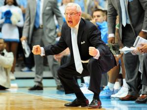 UNC head coach Roy Williams reacts to a play during the North Carolina Tar Heels vs. UNLV Runnin' Rebels NCAA basketball game, Saturday, December 29, 2012 in Chapel Hill, NC.