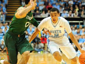 UNC point guard Marcus Paige (5) during the North Carolina Tar Heels vs. Miami Hurricanes NCAA basketball game, Thursday, January 10, 2013 in Chapel Hill, NC.
