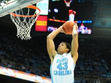 James Micheal McAdoo (43) dunks during the North Carolina Tar Heels vs. Miami Hurricanes NCAA basketball game, Thursday, January 10, 2013 in Chapel Hill, NC.