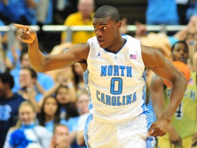 FILE: Joel James (0) reacts to a play during the North Carolina Tar Heels vs. Georgia Tech Yellow Jackets NCAA basketball game, Wednesday, January 23, 2013 in Chapel Hill, NC.