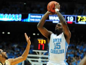 P.J. Hairston (15) takes a shot during the North Carolina Tar Heels vs. Wake Forest Demon Deacons NCAA basketball game, Wednesday, January 23, 2013 in Chapel Hill, NC.