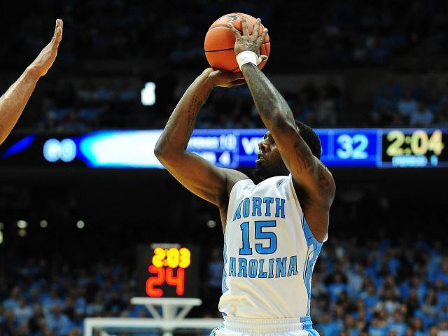 P.J. Hariston (15) drops one of his six three point field goals during the North Carolina Tar Heels vs. Virginia Cavaliers NCAA basketball game, Saturday, February 16, 2013 in Chapel Hill, NC.