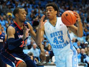 James Michael McAdoo (43) drives to the basket during the North Carolina Tar Heels vs. Virginia Cavaliers NCAA basketball game, Saturday, February 16, 2013 in Chapel Hill, NC.