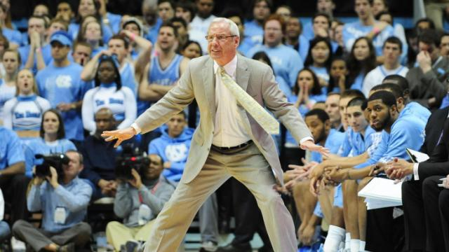FILE: UNC head coach Roy Williams reacts to play during the North Carolina Tar Heels vs. Florida State Seminoles NCAA basketball game, Saturday, March 3, 2013 in Chapel Hill, NC.