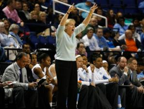 Coach Sylvia Hatchell gives her team instructions during the last quarterfinal game of the ACC Women's Basketball Tournament in Greensboro, N.C., Friday, March 8, 2013.