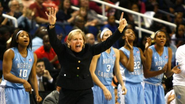Coach Sylvia Hatchell signals a defense during the second semifinal of the ACC Women's Basketball Tournament in Greensboro, N.C., Saturday, March 9, 2013.