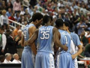 North Carolina huddles during the Tar Heels' 87-77 title game loss to Miami in the 60th ACC Tournament on Sunday, March 17, 2013 in Greensboro, NC (Photo by Jack Morton).