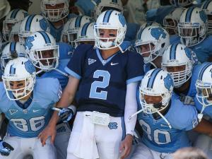 North Carolina Tar Heels quarterback Bryn Renner (2) and team prepare to take the field during the UNC Annual Spring Football game on Saturday, April 13, at Kenan Stadium in Chapel Hill North Carolina.