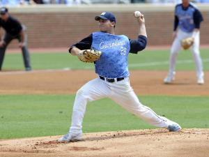 North Carolina pitcher Hobbs Johnson (29) throws during an NCAA college baseball tournament super regional game against South Carolina on Sunday, June 9, 2013, in Chapel Hill, NC. (AP Photo/Liz Condo)