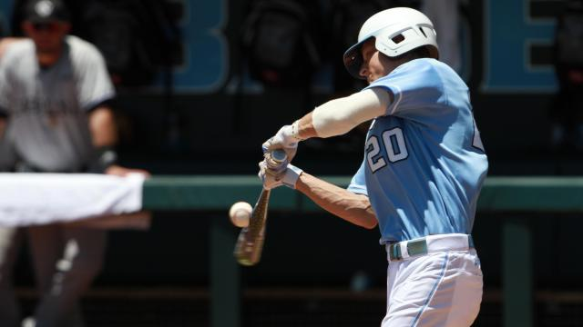 UNC right fielder #20 Skye Bolt makes contact. UNC defeats South Carolina 5-4 to advance to the College World Series Boshamer Stadium, Chapel Hill, NC, June 11,2013 (Photo by Jack Tarr)