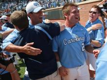 The Tar Heels advanced to the College World Series with a 5-4 win over South Carolina Tuesday, June 11, 2013 at Boshamer Stadium in Chapel Hill.