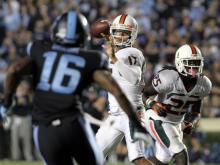 North Carolina couldn't hang on Thursday night falling 27-23 to No. 10 Miami at Kenan Stadium, Oct. 18, 2013.
