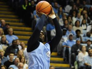 P.J. Hairston (15) takes a shot during the University of North Carolina Tar Heels Late Night With Roy on October 25, 2013 in Chapel Hill, NC.