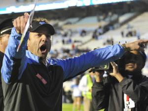 UNC head coach Larry Fedora reacts after the IUNC win at Kenan Stadium over the Boston College Eagles on October 26, 2013 in Chapel Hill, NC.