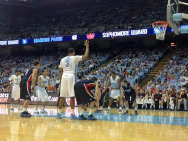The Tar Heels struggled from the free throw line despite a multitude of opportunities against Belmont Sunday, Nov. 17, 2013.<br/>Photographer: Jared Fialko
