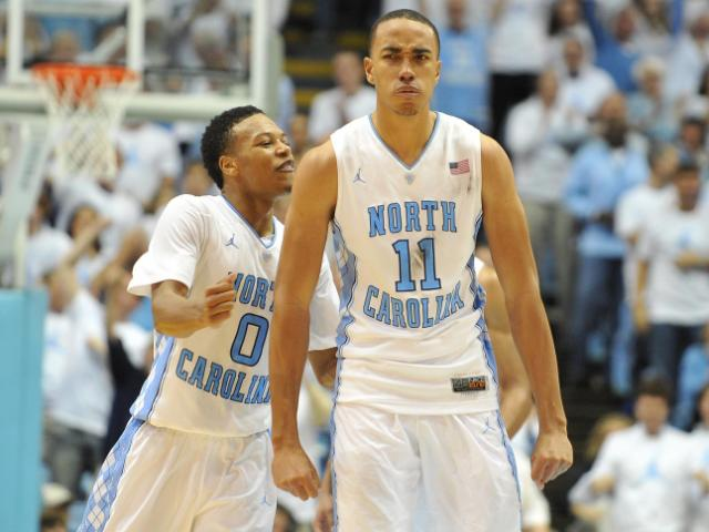 Brice Johnson (11) reacts to a play during action at the Dean E. Smith Center between the North Carolina Tar Heels and the Kentucky Wildcats on December 14, 2013 in Chapel Hill, NC. UNC won the contest over Kentucky 82-77. (Photo by: Will Bratton)
