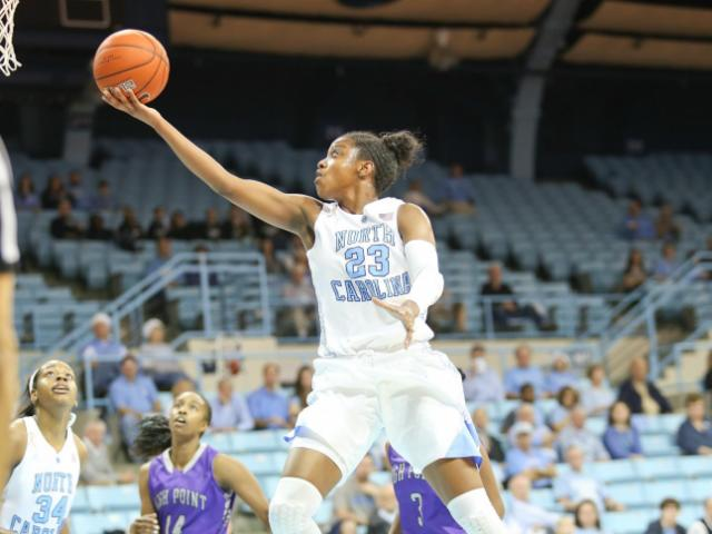Diamond DeShields (23) in for the easy bucket. UNC Women host High Point University on Saturday December 21, 2013 at Carmichael Arena, Chapel Hill N.C.Carolina won by a score of 103 to 71. (CHRIS BAIRD / WRAL Contributor).<br/>Photographer: Chris Baird