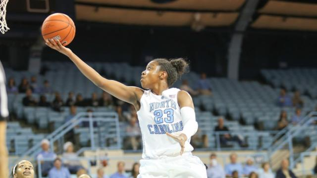 Diamond DeShields (23) in for the easy bucket. UNC Women host High Point University on Saturday December 21, 2013 at Carmichael Arena, Chapel Hill N.C.Carolina won by a score of 103 to 71. (CHRIS BAIRD / WRAL Contributor).