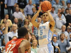 Marcus Paige (5) takes a shot during action at the Dean E. Smith Center between the North Carolina Tar Heels and the Maryland Terrapins on February 4, 2014 in Chapel Hill, NC. UNC won the contest over Maryland 75-63. (Will Bratton/WRAL contributor)