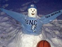 With snow but no game to go to, some Tar Heels fans got creative.