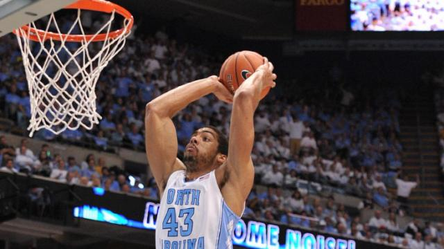 James Michael McAdoo (43) dunks during action at the Dean E. Smith Center between the North Carolina Tar Heels and the Pitt Panthers on February 15, 2014 in Chapel Hill, NC. (Will Bratton/WRAL contributor)